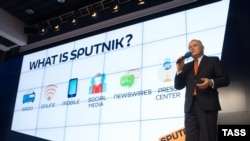 Dmitry Kiselyov, an anchorman at RT, at a presentation of the then-new Russian news agency Sputnik in Moscow in November 2014