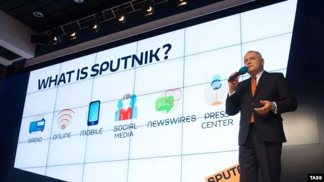 Dmitry Kiselyov, Putin media tsar and general director of news agency Rossiya Segodnya, at a presentation of new Russian news agency Sputnik in Moscow on November 10.