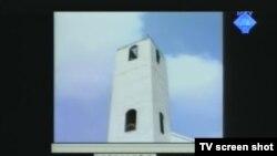 Snimak srušene katoličke crkve iz Biševa prikazan u sudnici