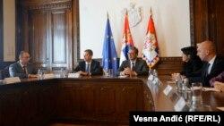 Presidenti i Serbisë, Aleksandar Vuçiq dhe përfaqësuesit e Listës Serbe (foto arkiv)
