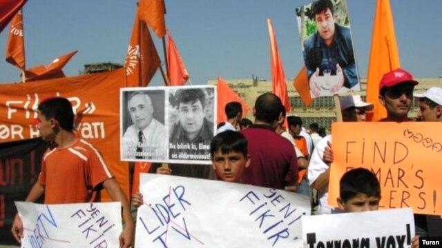 Azerbaijan -- A demonstration in memory of Elmar Huseynov