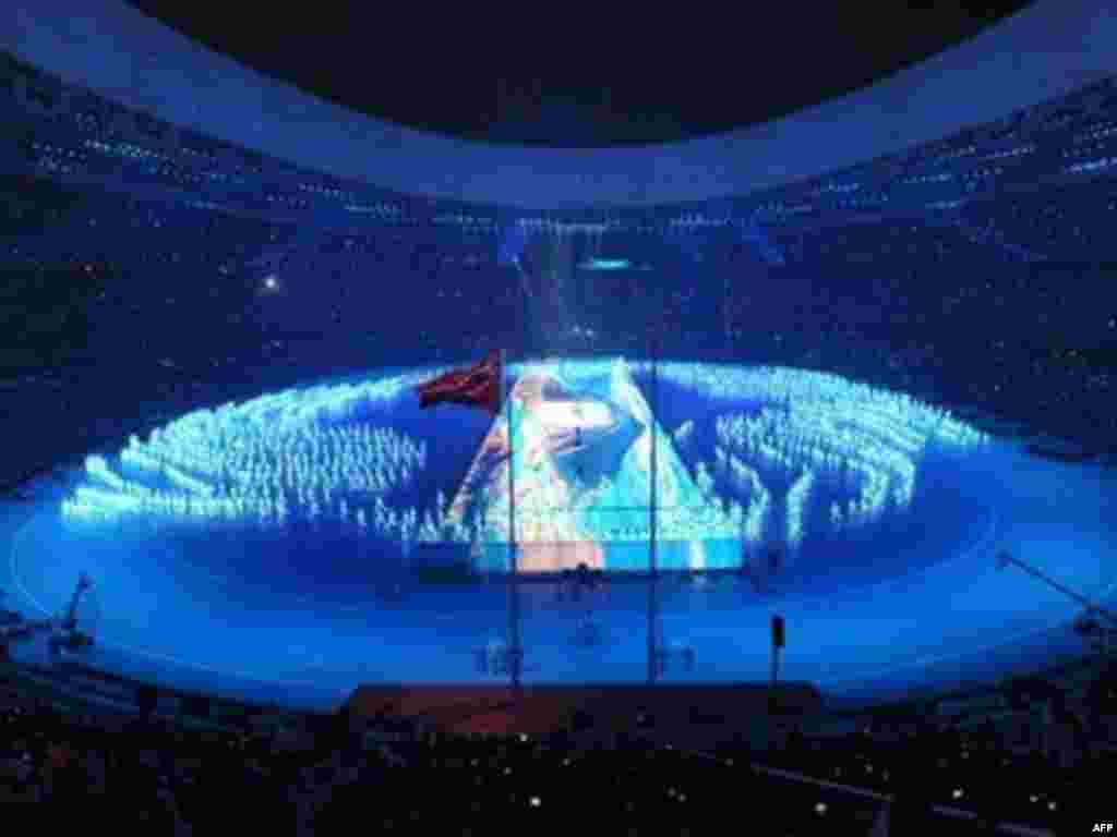 China -- Fireworks light up the sky over the National Stadium in Beijing, during the opening ceremony of the 2008 Beijing Olympic Games, 08Aug2008