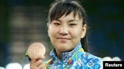 Әйелдер күресінен олимпиаданың қола жүлдегері Эльмира Сыздықова. Рио, 17 тамыз 2016 жыл.