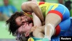Екатерина Ларионова в схватке за бронзовую медаль Олимпиады. Рио-де-Жанейро, 18 августа 2016 года.
