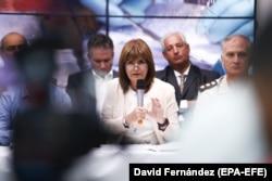"""Патрисия Буллрич на пресс-конференции, посвященной """"кокаиновому делу"""", 22 февраля 2018 года. Фото: EPA-EFE"""