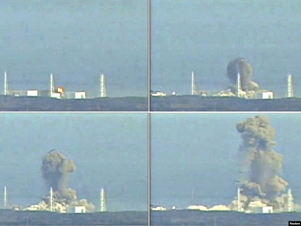 На серії відеокадрів відображений вибух водню на атомній електростанції «Фукусіма-1» у місті Окума в префектурі Фукусіма, який стався 14 березня після землетрусу і цунамі, що вдарили 11 березня