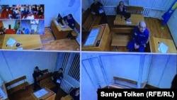 Тұтқын Макс Боқаевтың ісі бойынша сот отырысындағы монитордан түсірілген сурет. Астана, 25 қаңтар 2018 жыл.