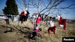 Bulgaria -- Syrian children play on a tree as they wait for the distribution of food outside a refugee center in Sofia, October 29, 2013