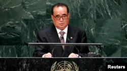 Министр иностранных дел КНДР Ли Су Йон выступает в ООН