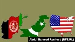 د امریکا، پاکستان او افغانستان ګډ بیرغونه په خپلو نقشو کې