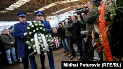 A wreath is laid to commemorate the 20th anniversary of the Markale massacre in Sarajevo on February 5.