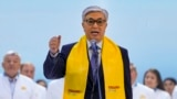 Interim Kazakh President Qasym-Zhomart Toqaev speaks to supporters in Nur-Sultan on June 7.