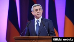 "Armenia -- President Serzh Sargsyan addresses the 9-th Congress of ""Yerkrapah"" union. 18Feb., 2012"