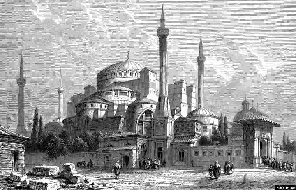 An illustration of Hagia Sophia in 1857.   On the exterior of the former cathedral, towering minarets were added from where muezzins made the Islamic call to prayer.
