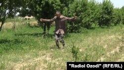 Таджикский фермер показывает руками масштабы нашествия саранчи