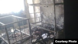 A burned-out dorm room at Tehran University following the June 14 attack.