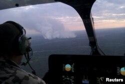 Пожежа у зоні відчуження (40 кілометрів від ЧАЕС) з висоти пташиного польоту. 29 червня 2015 року