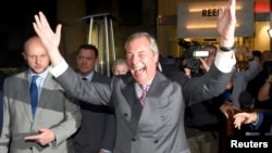 ՄԹ անկախության կուսակցության առաջնորդ Նայջըլ Ֆարաժը ողջունում է հանրաքվեի նախնական արդյունքները, Լոնդոն, 24-ը հունիսի, 2016թ․