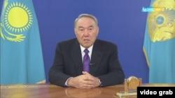 На скриншоте из видео — президент Казахстана Нурсултан Назарбаев во время выступления в эфире государственного телеканала «Казахстан». 25 января 2017 года.