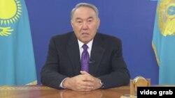 Президент Казахстана Нурсултан Назарбаев выступает с обращением к народу Казахстана. Астана, 25 января 2017 года.