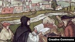 Мартин Лютер сжигает папскую буллу. Немецкая гравюра XVI века
