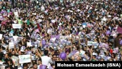 Supporters of Hassan Rouhani in a campaign rally in Mashhad, on Wednesday My 17, 2017.