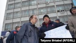 """Пикет дальнобойщиков против системы """"Платон"""" в Новосибирске, 5 декабря 2015 года"""