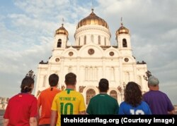 Акция ЛГБТ-активистов в Москве во время чемпионата мира по футболу