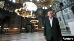 Turkey - Turkish President Erdogan visits the Hagia Sophia or Ayasofya-i Kebir Camii in Istanbul