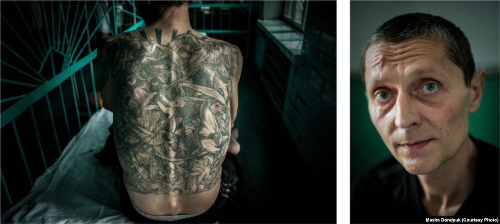 Hennadiy, 44, was a prisoner at Starozburivska Corrections Colony No. 7 in July 2011. He had been diagnosed with MDR TB and HIV. Hennadiy was formally a low-ranking member of Ukraine's organized-crime subculture, but now he moans that there is no code of thieves anymore. His tattoo shows the Four Horsemen of the Apocalypse.