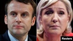 Emmanuel Macron (solda) və Marine Le Pen