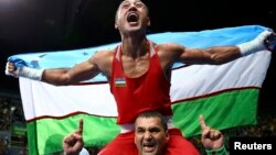 Fazliddin Gaibnazarov after his Olympic victory last year