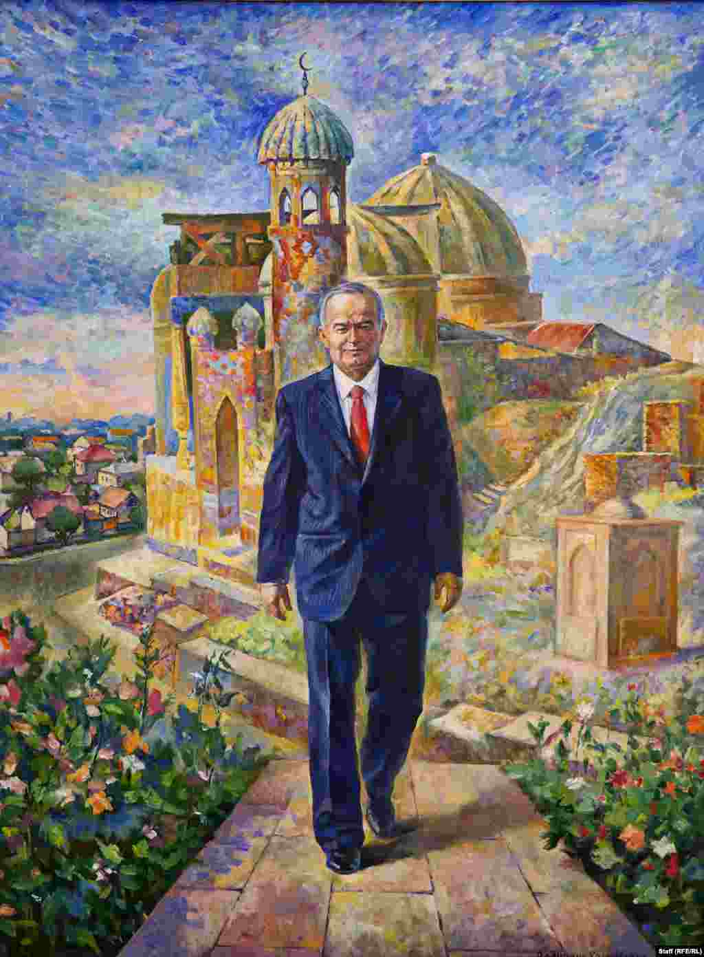 Karimov ambling through an impressionist Uzbek cityscape. During the 25 years he ruled over independent Uzbekistan, the Soviet apparatchik-turned-president-for-life never faced free democratic elections and ran a police state that was accused of routine torture.