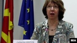 Прес конференција на високиот претставник за надворешна политика и безбедност на ЕУ Кетрин Ештон.