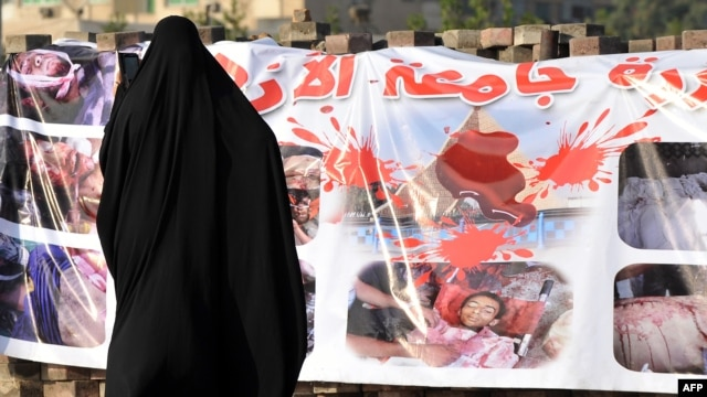 A supporter of Egypt's ousted President Muhammad Morsi looks at banners displaying images of dead Islamists in Cairo.