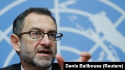 Toby Lanzer, deputy special representative for the United Nations Assistance Mission in Afghanistan, at the start of a two-day conference on Afghanistan at the United Nations in Geneva on November 27.