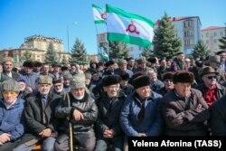 Участники митинга протеста против принятия законопроекта «О референдуме Республики Ингушетия». Ингушетия, город Магас, 26 марта 2019 года