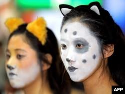 Южнокорейские защитницы животных на акции протеста против поедания собак в Сеуле. 2009 год