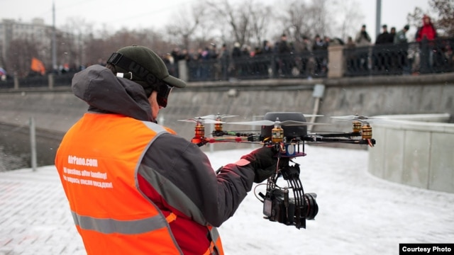 An AirPano drone being deployed during protests on Moscow's Bolotnaya Square in December 2011.