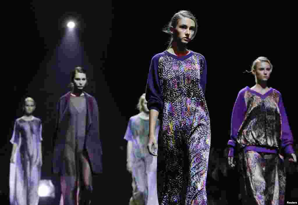Models present creations by Russian designer Viktoria Andreyanova at the Volvo Fashion Week in Moscow last month.