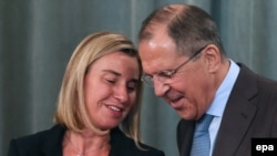 EU foreign policy chief-designate Federica Mogherini with Russian Foreign Minister Sergei Lavrov after a meeting in Moscow in July