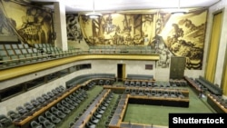Pamje nga brendia e selisë së Kombeve të Bashkuara në Gjenevë