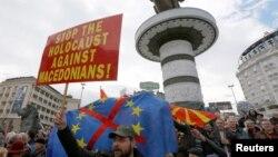 Pamja nga protesta e sotme në Shkup, Maqedoni