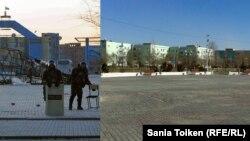 Площадь в Жанаозене в декабре 2011 года (слева) и в декабре 2012 года.