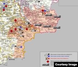 Карта СБУ Украины: красным отмечены места, где сепаратисты содержат пленных
