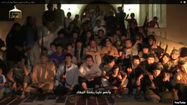 A screen grab shows dozens of purported Kazakh fighters in Syria.