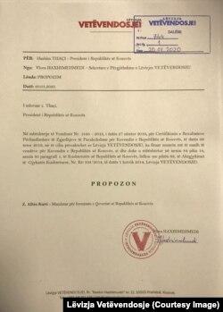 Letra e Lëvizjes Vetëvendosje dërguar presidentit Hashim Thaçi.