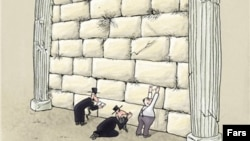 A prizewinning cartoon by Mahmud Mohammad Tabrizi equates Wall Street with Jerusalem's Western Wall.