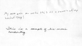 Writing samples by Tyler Meder, a 13-year-old American student, and his mother, Meredith Meder (CLICK TO ENLARGE)