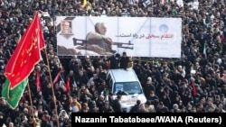 گوشهای از مراسم تشییع قاسم سلیمانی در تهران
